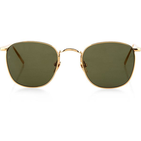 Linda Farrow Gold Square Frame Sunglasses ($605) ❤ liked on Polyvore featuring accessories, eyewear, sunglasses, retro glasses, gold sunglasses, square sunglasses, blue mirrored sunglasses and square glasses