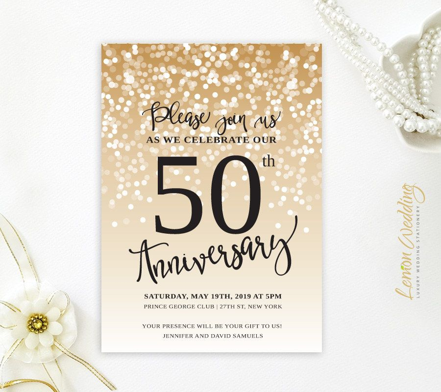 50th wedding anniversary invitations | Golden wedding anniversary ...