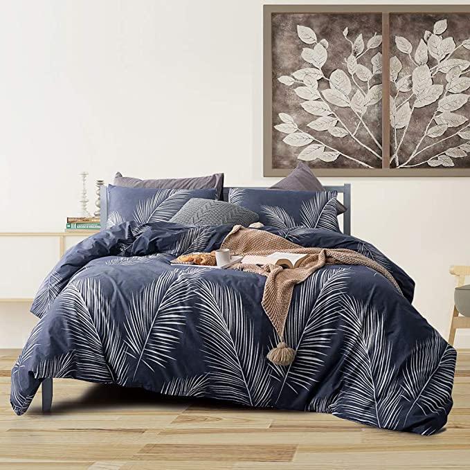 Amazon Com Mixinni Tropical 3 Pieces White Palm Leaf Print Duvet Cover Set 100 Natural Cotton Navy Blue Duvet Co Blue Duvet Blue Duvet Cover Duvet Cover Sets