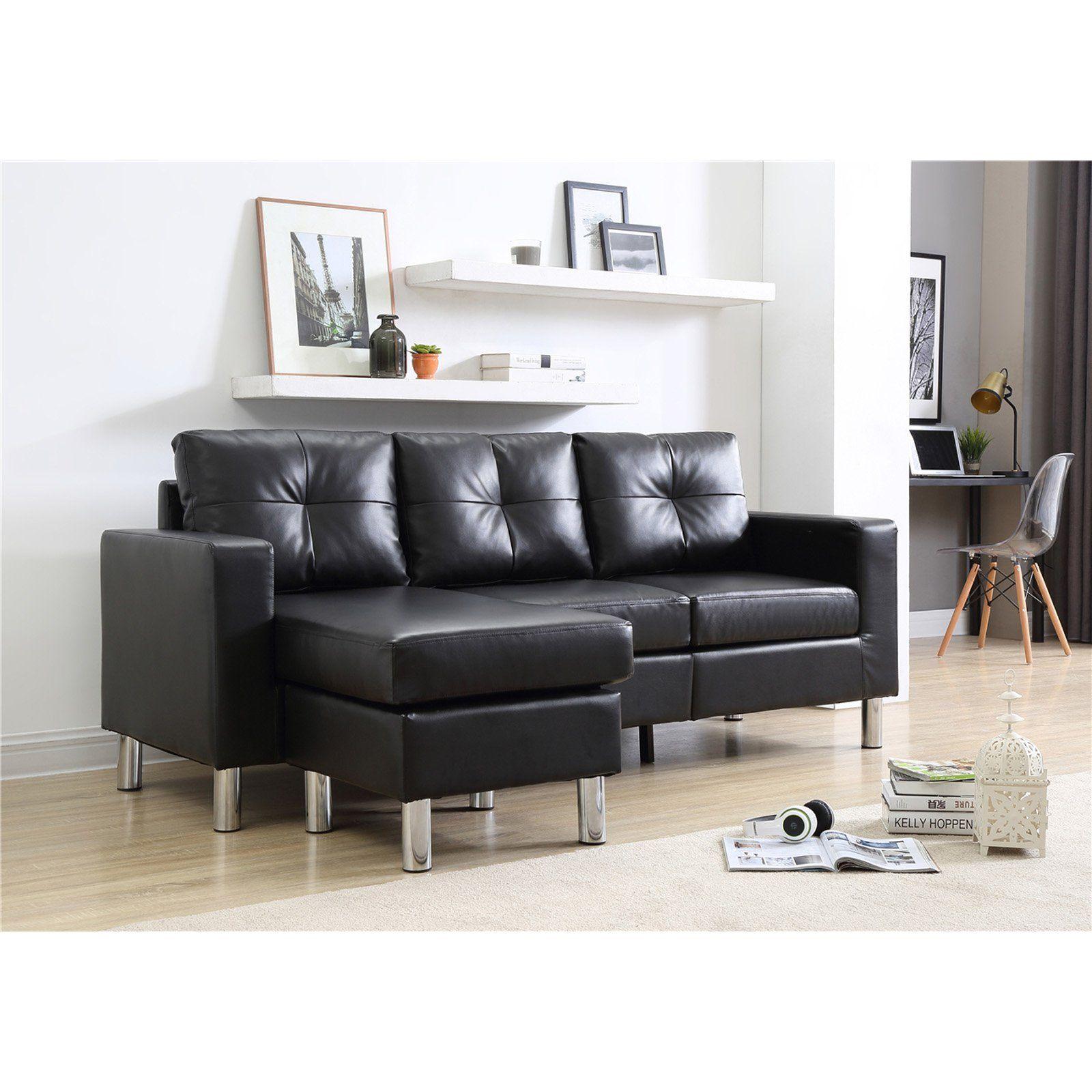 Nh Designs Small Space Convertible Sectional Sofa Black Sectional Sofa Couch