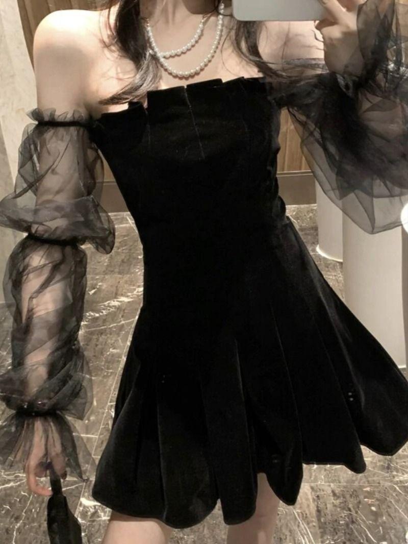 Gothic Vintage Off Shoulder Dress Black Mini Dress Street Style Boho Vintage Dress Mini Velvet Dress Black Velvet Dress Grunge Dress [ 1066 x 800 Pixel ]