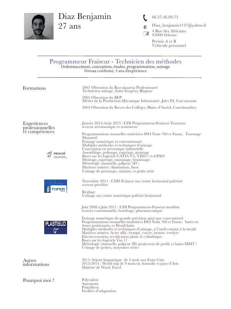 Telecharger Exemple Cv Fraiseur Exemple Cv Fraiseuse Exemple