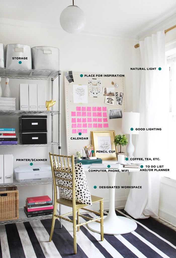 11 Essentials for Your Home Office   Home office space. Home office design. Home office decor