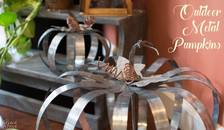 With some nuts, galvanized metal straps and a threaded rod see how I made my Pottery Barn inspired outdoor metal pumpkins for a fraction of the cost.