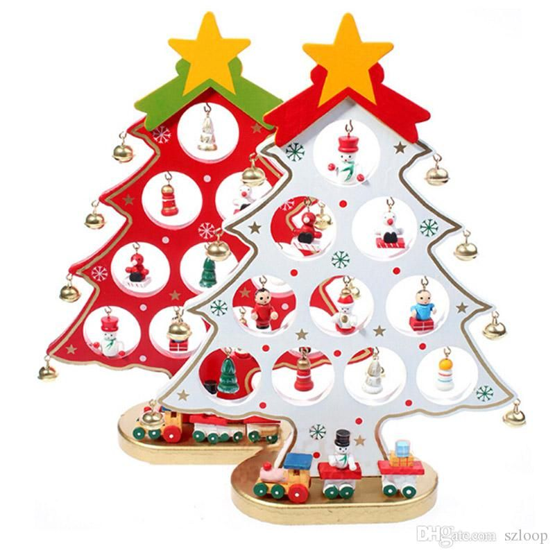 1pc diy cartoon wooden christmas tree decoration christmas gift ornament table desk decoration 3 colors wholesale 0708063 - Wooden Christmas Decorations Wholesale