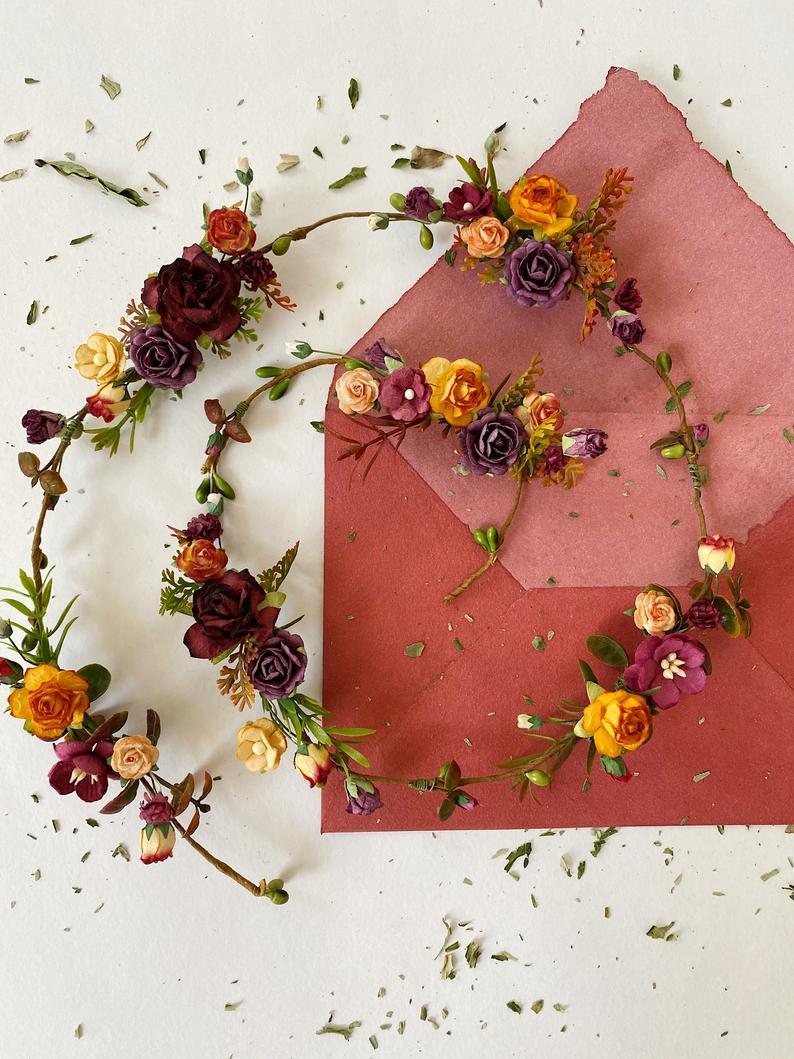 Bridal Flower Hair Vine Floral Hair Vine Orange Burgundy Etsy In 2021 Floral Hair Vine Floral Hair Bridal Flower Hair Pins