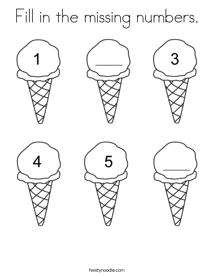 Fill in the missing numbers Coloring Page   Happy Creative Ice Cream ...