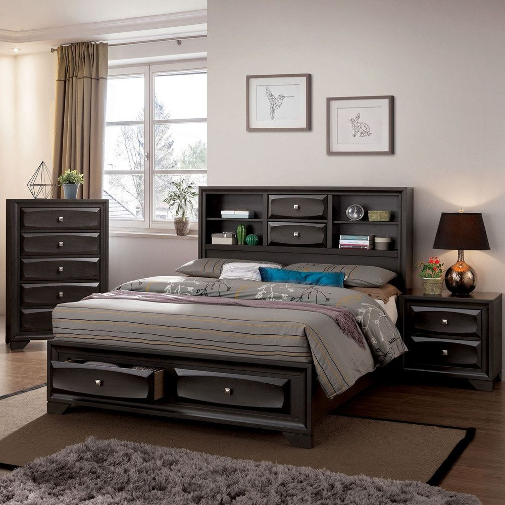Furniture Of America Loon Contemporary Grey Solid Wood Storage Bed California King Size Bed Furniture Bedroom Furniture Sets