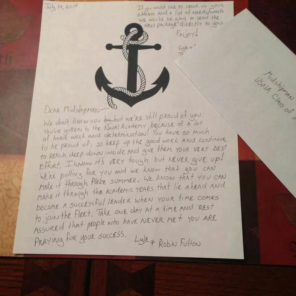 Plebe summer letter | USNA Care Package Ideas | Naval