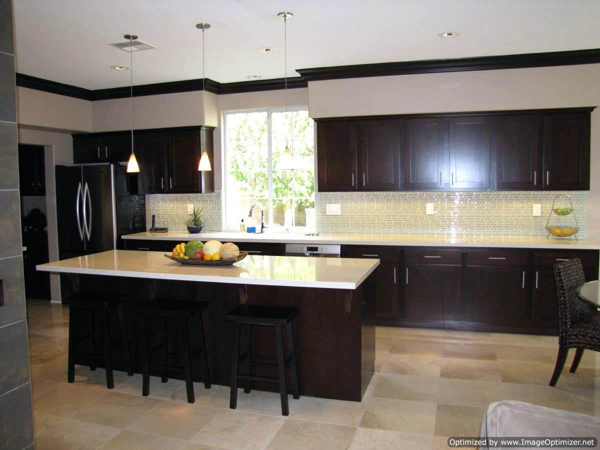 Espresso Schränke Mit Grau Etagen Weiß Arbeitsplatten Küche Und Holz  Arbeitsplatte Granit Badezimmer Wände, Dunkle