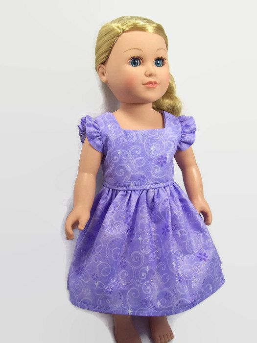 18 Inch Doll Clothes Sparkly Lavender Flutter Sleeve Dress Craft