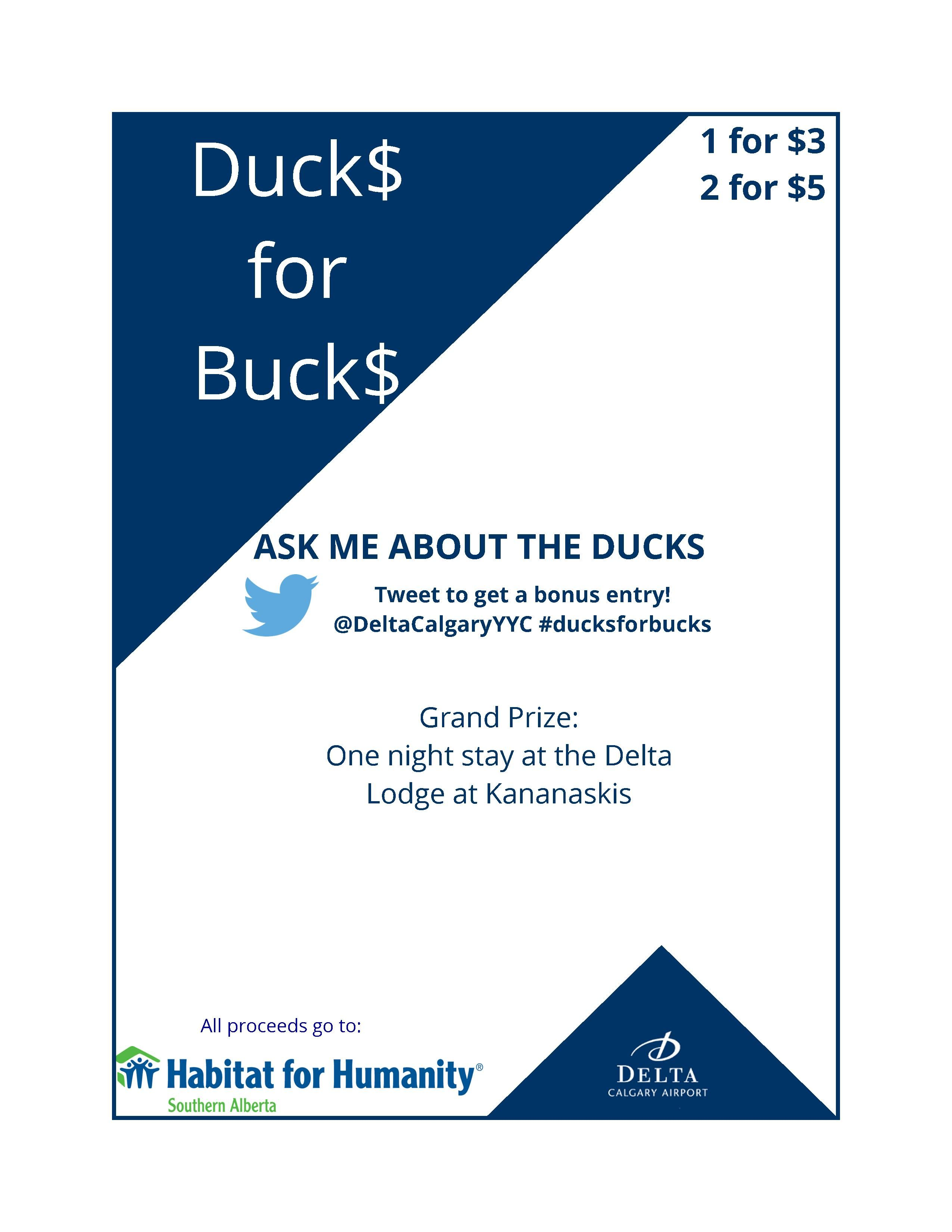 Our annual #ducksforbucks fundraiser is back! Help us fill our pool with ducks, while donating money to Habitat for Humanity Southern Alberta. We'll be holding a pool party on August 22, with the winner winning a one night's stay in a deluxe room at the @deltalodgekan!