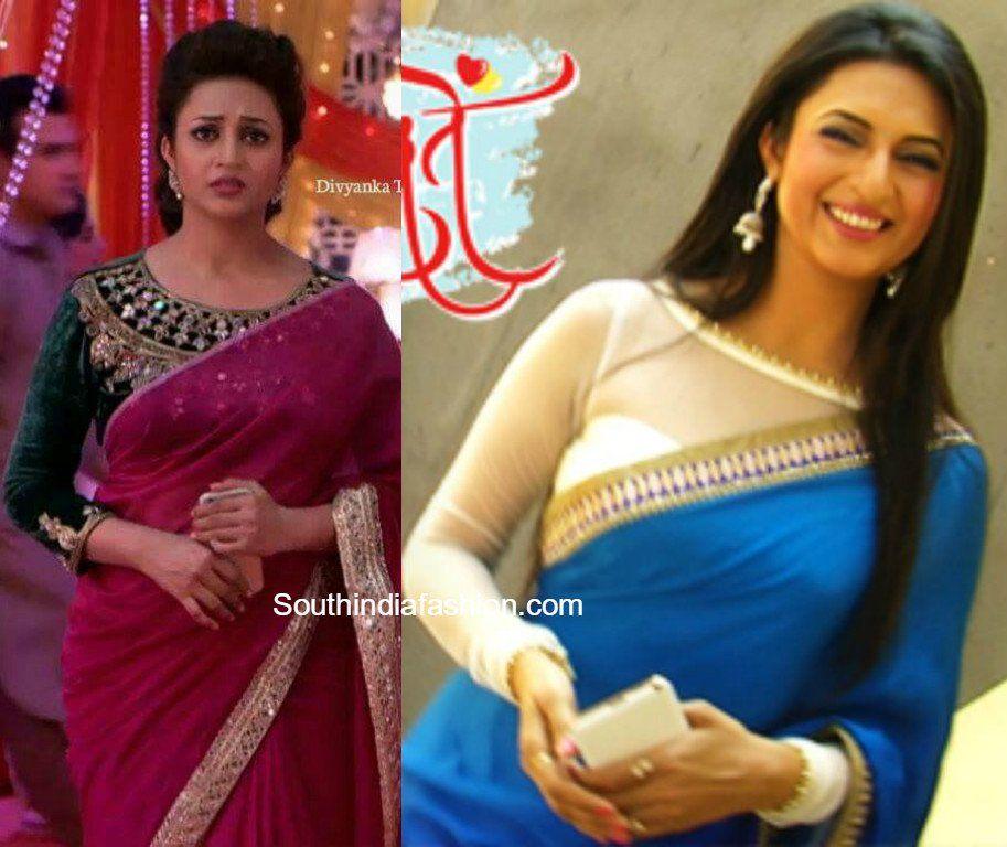 5927d51e01613 Divyanka Tripathi aka Ishita Bhalla Saree blouse designs in Yeh Hai  Mohabbatein serial