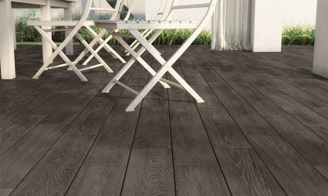 Carrelage terrasse imitation parquet hortus gris fonc for Photo terrasse carrelage gris