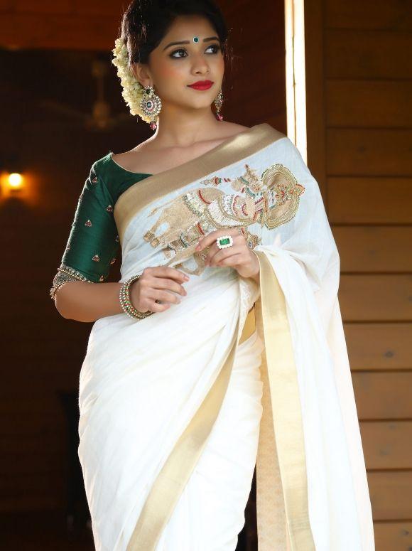 NUPURA Kerala Saree Set Saree Set Mundu Kerala Kasavu