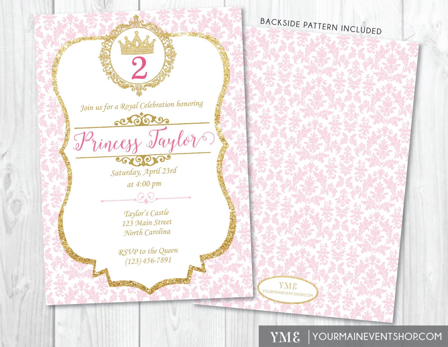 Princess birthday invitation pink and gold princess invite princess birthday invitation pink and gold by yourmaineventprints stopboris Image collections