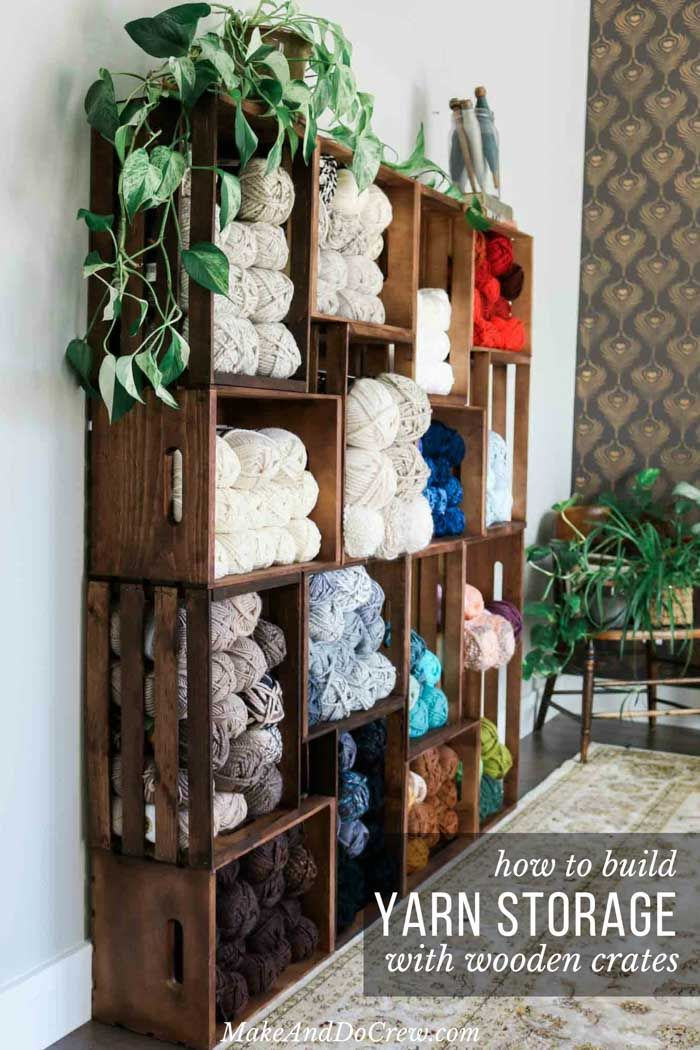 Easy Diy Yarn Storage Shelves Using Wooden Crates Video