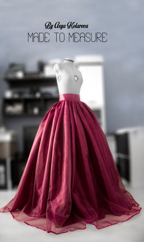 Wine organza skirt Ball gown Wedding skirt Full satin skirt ...