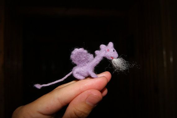 Felt dragon, felt toy, tiny felted dragon, soft sculpture, miniature dragon,  fairy tale animal, nat #feltdragon