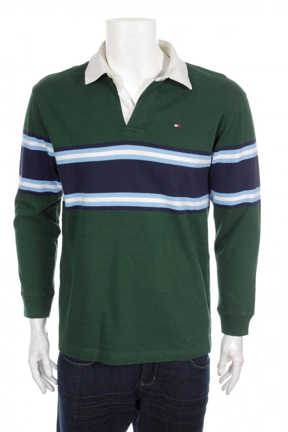 e34db340 Vintage TOMMY HILFIGER Polo Shirt / Color Block/ Green/White/Blue/ Size XL  by VapeoVintage on Etsy