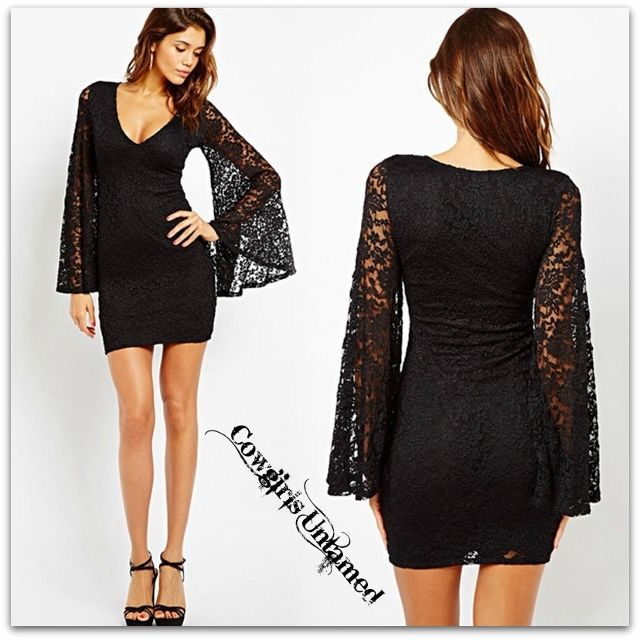 COWGIRL GYPSY DRESS Lace Long Bell Sleeve Fitted Dress | BIKER BABES ...