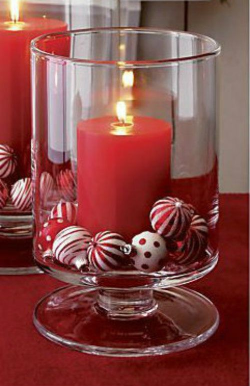 Large glass hurricane candle lantern christmas