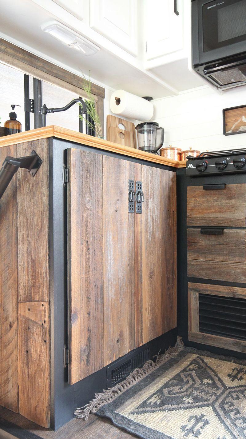 Diy Reclaimed Wood Kitchen Cabinets Vintage Camper Remodel Reclaimed Wood Kitchen Kitchen Remodel Design