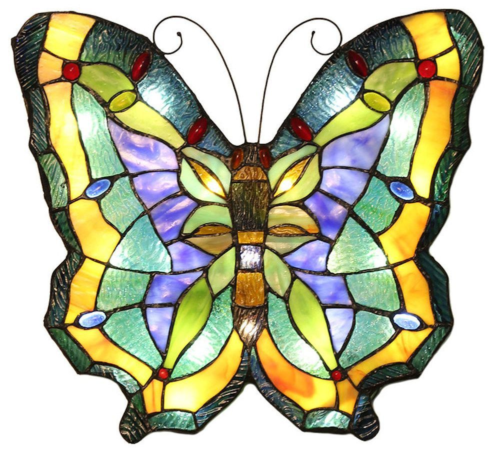 Butterfly Wireless LED Stained Glass Wall Panel with Remote | 14.75 inches