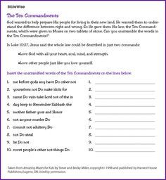 Ten Commandments Worksheets - Bing Images | Ten commandments | Kids ...