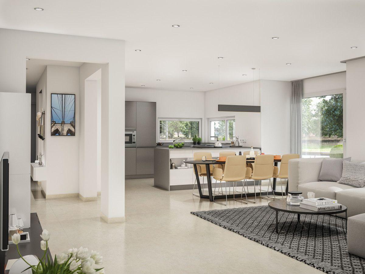 wohnzimmer ideen grau mit offener kche und esstisch haus concept m 166 bien zenker - Wohnzimmer Esstisch