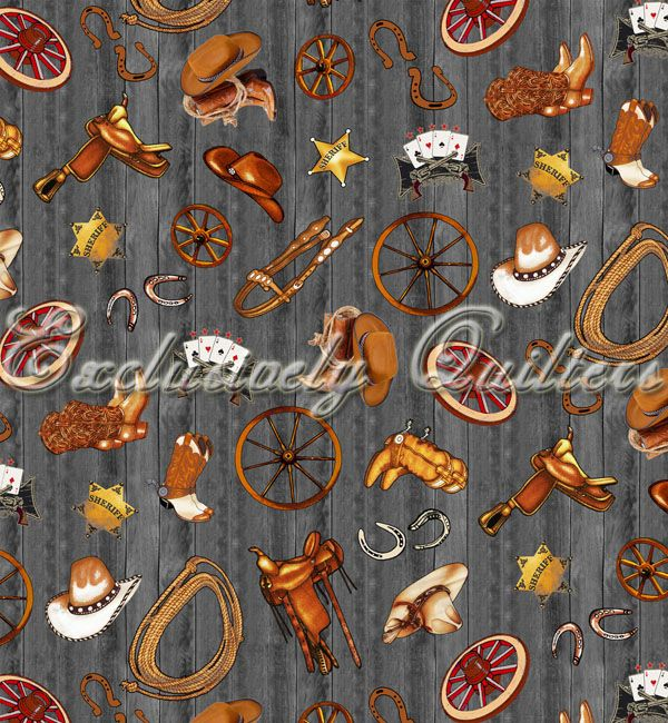Horse Fabric EQ Wild Wild West cowboy equipment 5125 | Fabric ... : horse material for quilts - Adamdwight.com