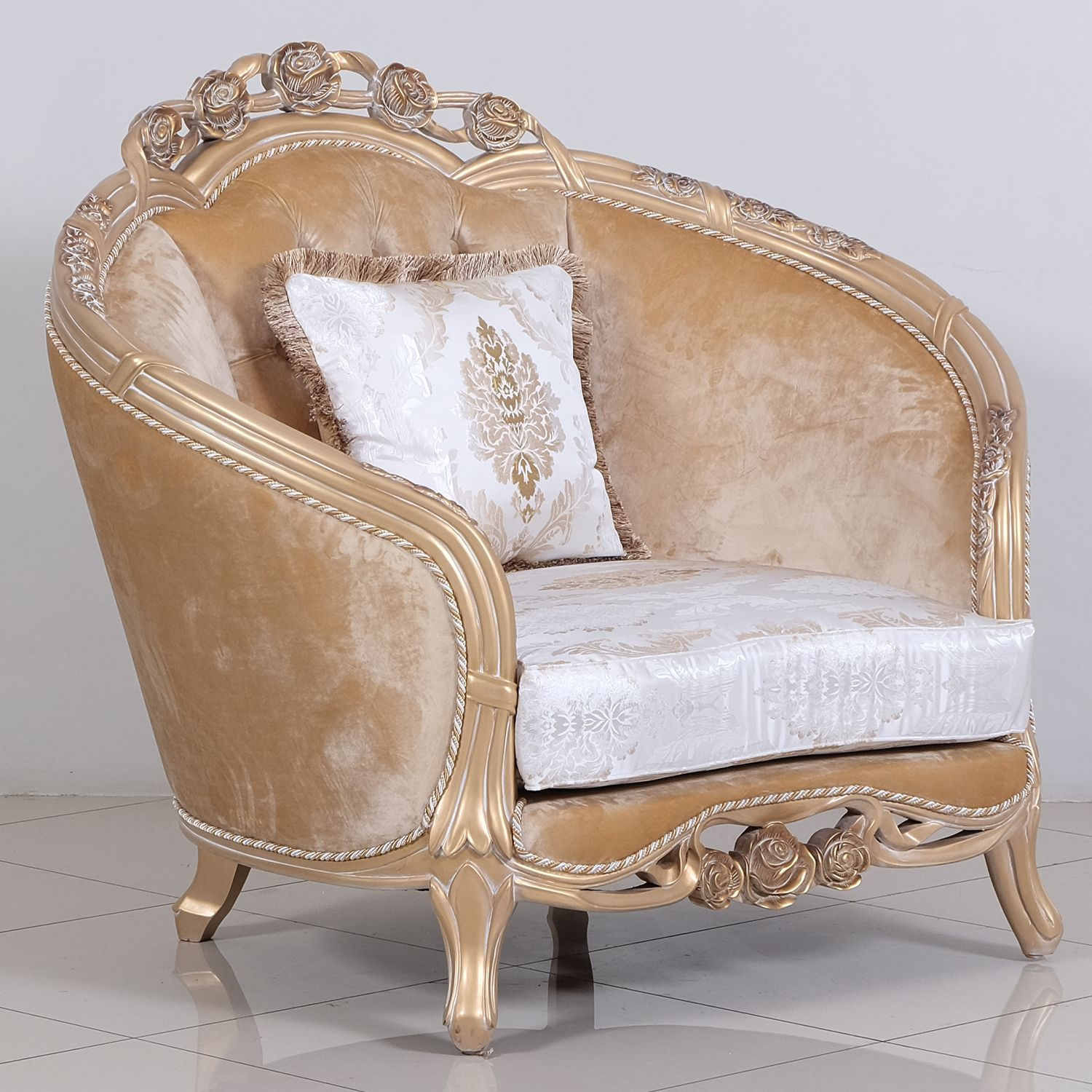 Valentina Arm Chair in Tufted Fabric on Carved Champagne ...