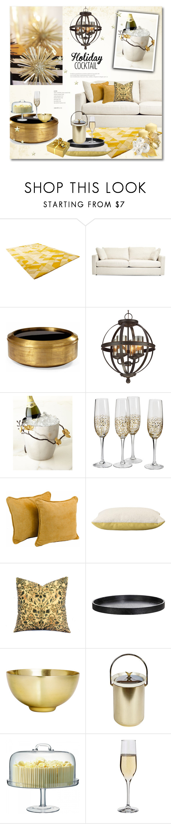 """Holiday Cocktails"" by helenevlacho ❤ liked on Polyvore featuring interior, interiors, interior design, home, home decor, interior decorating, Cyan Design, Sea Gull Lighting, Michael Aram and Blazing Needles"
