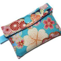 Petit Portecartes En Tissu Japonais Gaufré Coloré Bleu Et Rose - Porte carte de fidelite grande capacite