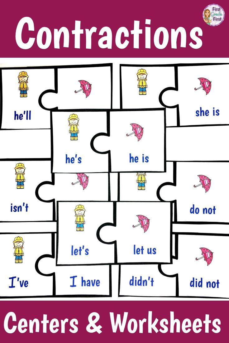Teaching contractions to your first graders? Check out these ...