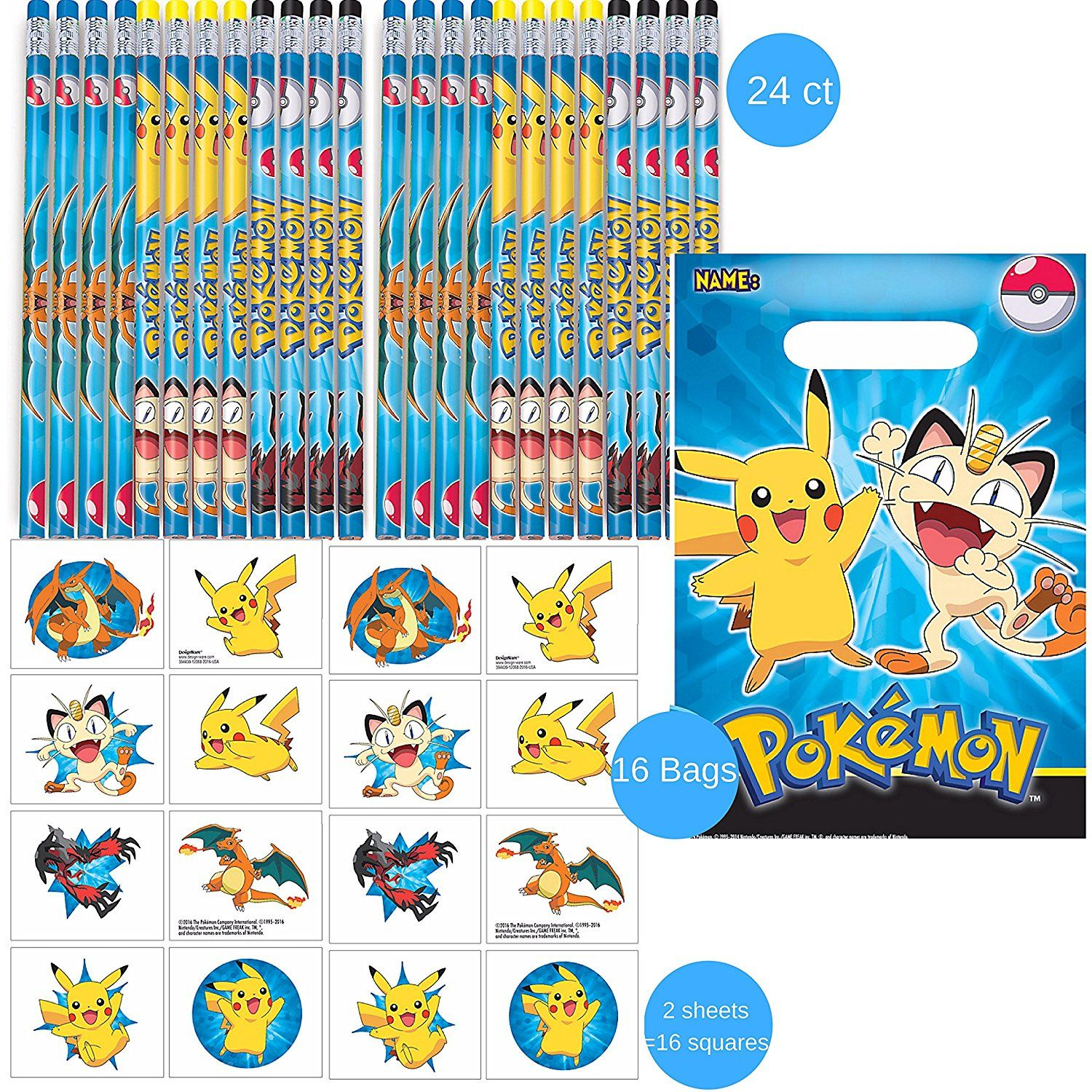 Amazon.com: Pokemon Party Favors: Pencils, Tattoos, Favor bags, 42 ...