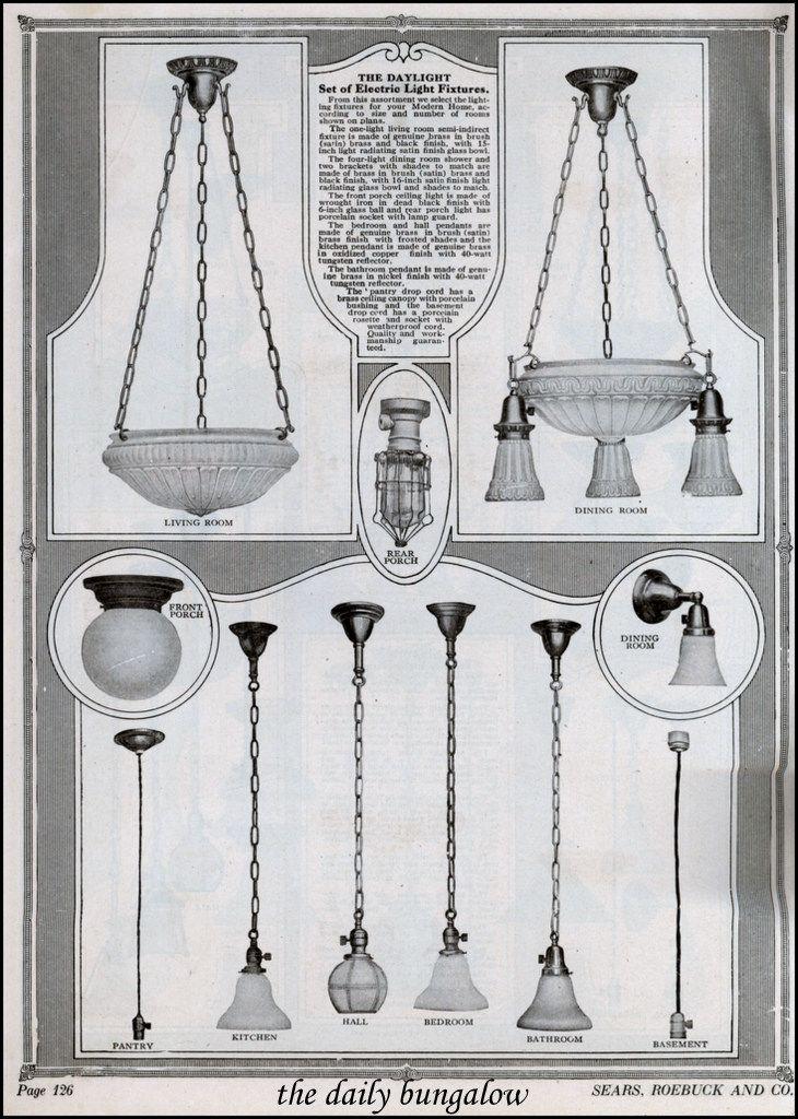1921 Sears Kit Homes Craftsman Lighting 1920s Light Fixtures Antique Lighting