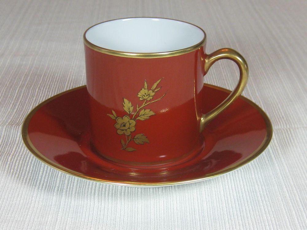 B Co Limoges France Demi Cup And Saucer Dark Rust Color Gold Trim Flower BCo