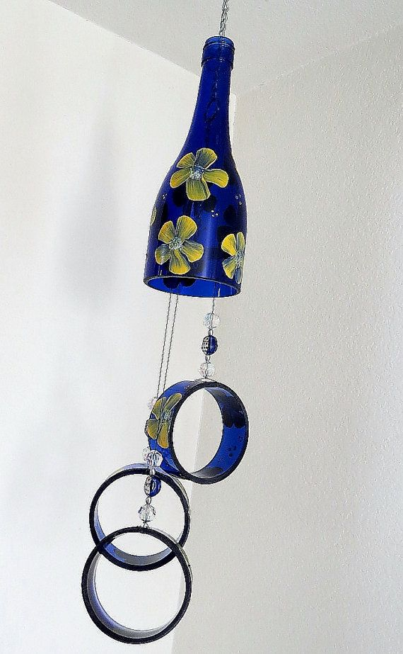 Recycled Wine Bottle Wind Chime Yard Art Patio By LindasYardArt