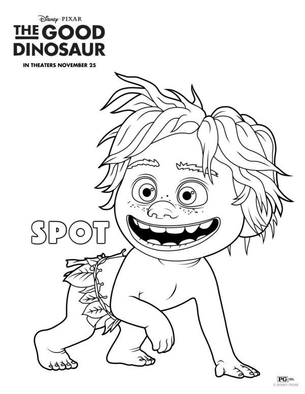 Free Disney The Good Dinosaur Spot Coloring Page Dinosaur