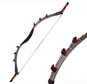 NEW-45-50lbs-Hunting-Recurve-Bow-Snakeskin-Longbow-Archery-Horse-Bow-Kirin