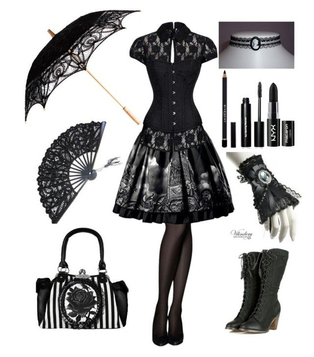"""Goth #1"" by insane-alice-madness ❤ liked on Polyvore featuring Givenchy, Bobbi Brown Cosmetics and NYX"