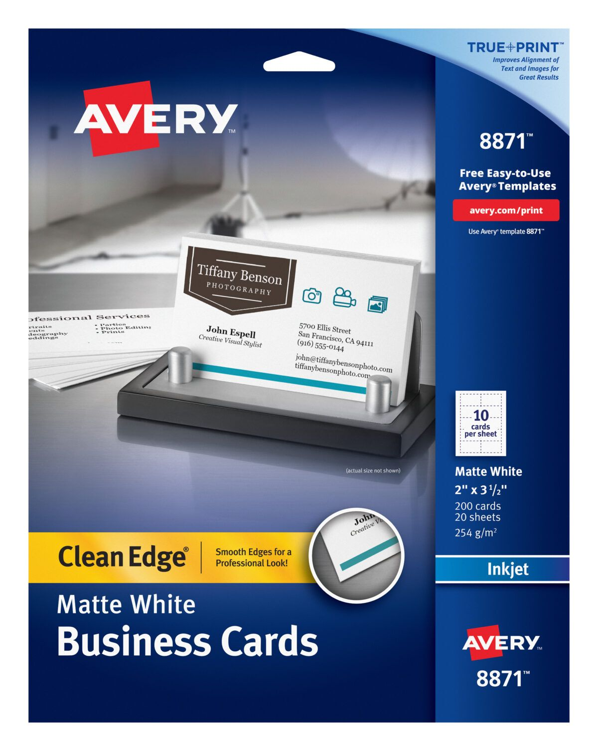 Avery Clean Edge Business Cards True Print Matte Two Sided Printing 2 Young Living Business Cards Templates Avery Business Cards Office Depot Business Cards