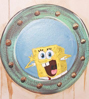 Submarine Themed Bathroom Spongebob Looking Through Porthole Scuba Diver Fishes Shark