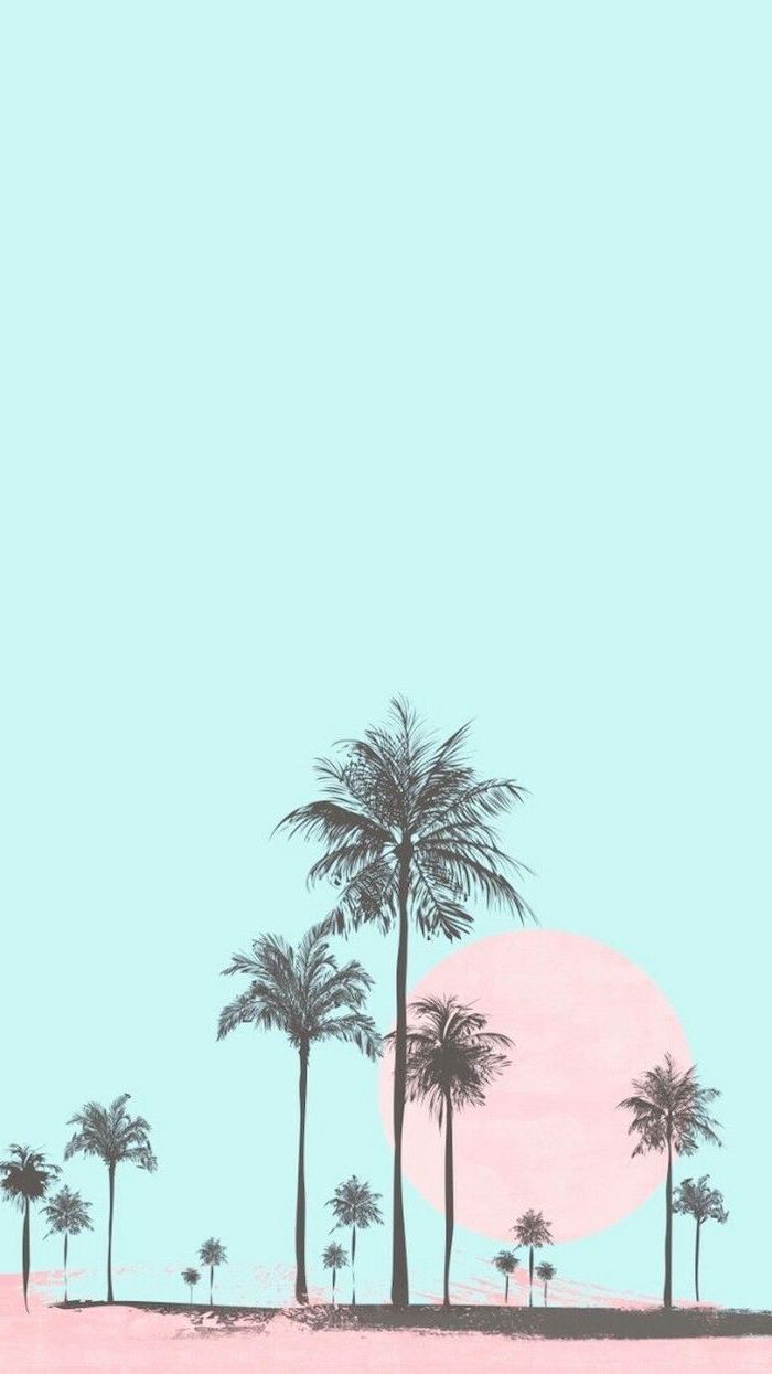 Blue Background Black Palm Trees Cute Wallpapers For Girls Pink Sun Pastel Background Wallpapers Pastel Background Summer Wallpaper