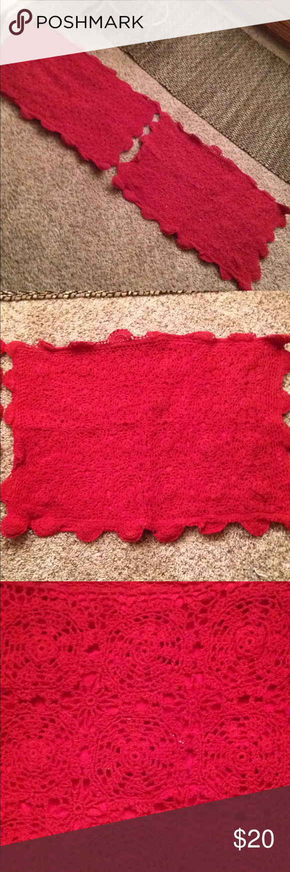 Two red standard size crochet rosette pillow shams Bright red crocheted pillow shams scallop edges.  Vintage cotton.  Great condition see pics.  Standard size.  Great for holidays. Bedding Pillows #pillowedgingcrochet