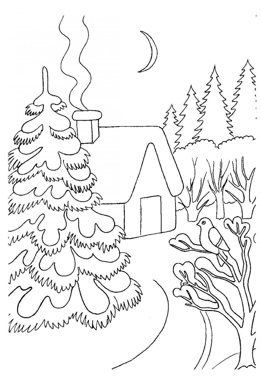 Зимний пейзаж и домик в лесу - раскраска №13525 ...