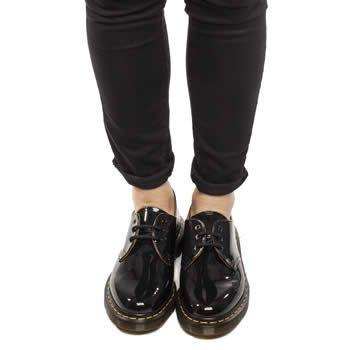 Womens Black Dr Martens 1461 Shoe Patent Shoes | schuh