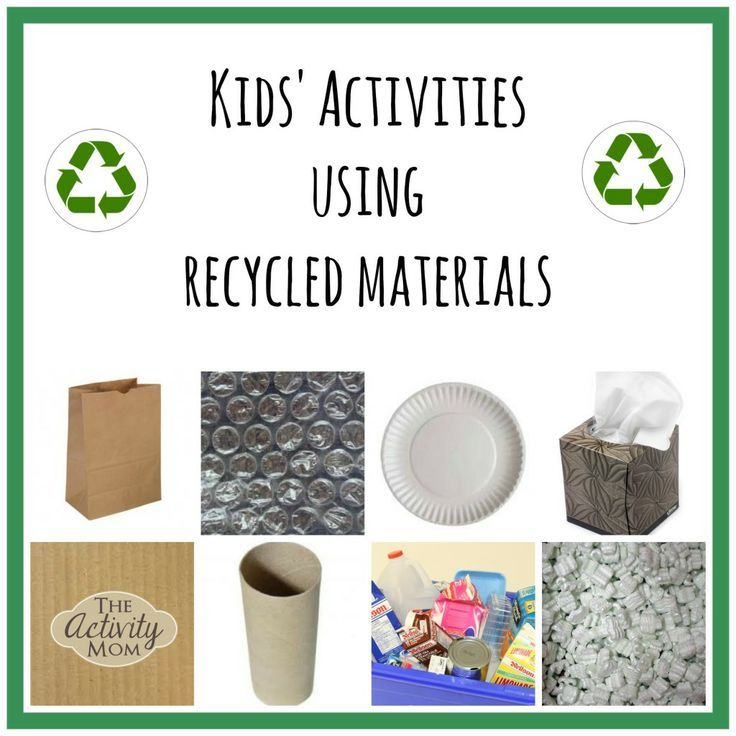 Kids' Activities using Recycled Materials is part of Kids Crafts Recycled Materials - So many kids activities using recycled materials including paper tubes, magazines, paper plates, magazines, bubble wrap, cardboard, and tissue boxes