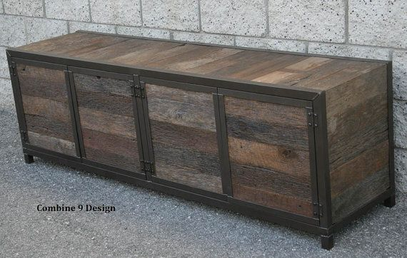 Rustic Reclaimed Wood Media Console Credenza Handmade Minimalist Customizable Furniture Real Wood Tv Stand Buffet Urban Sideboard Con Imagenes Muebles Hechos A Mano Madera Muebles